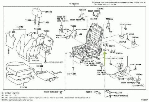 TOYOTA Genuine 71873-33070 Seat Cushion Shield