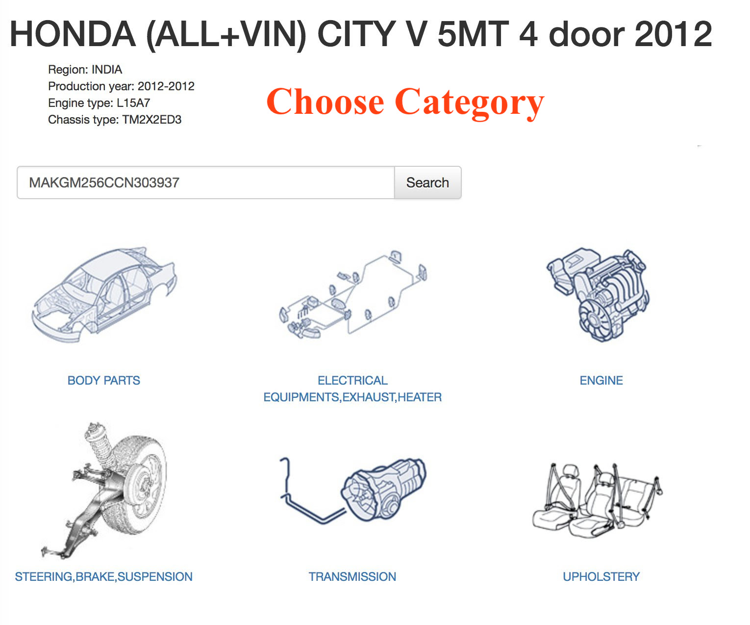 5 Simple Steps To Use Vin Search Find Spare Parts Boodmo Wiring Diagram Hyundai Santro India Step 2 Category Selection